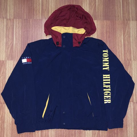 af28afa9 @supremehighlytes. 6 months ago. New York, United States. Vintage Tommy  Hilfiger Spellout Windbreaker Jacket Great Condition Size Large Navy Yellow  Red ...