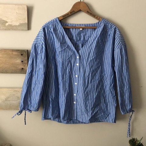 6863a05c Madewell blue and white striped shirt 💕💕 This top is and - Depop