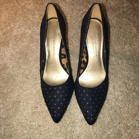 2a7a55e344 Christian Siriano for Payless. Navy blue pointy toe heels on - Depop