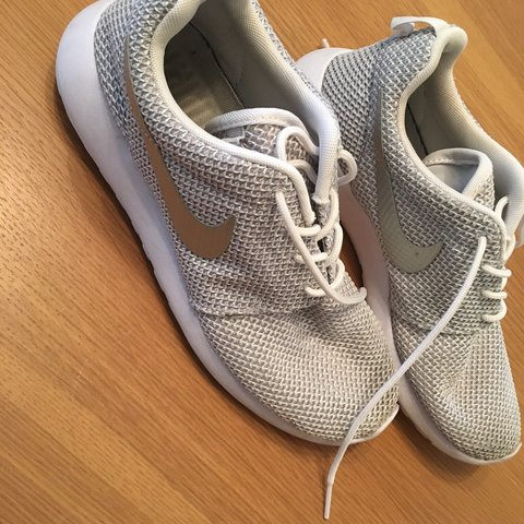 sale retailer e2f52 40530  emlesz. 3 years ago. Hailsham, East Sussex, UK. Good condition, unisex  White and grey Nike roshes runs with silver ...