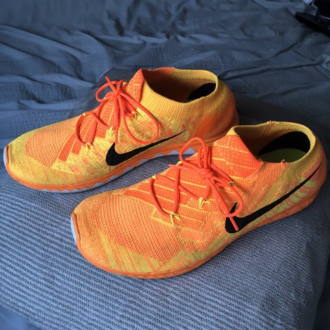 914ceda20d76 Nike flyknit orange! Good condition size 9 - Depop