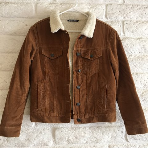 Tan Corduroy Jacket With Fur Collar And Inside Lining Worn Depop
