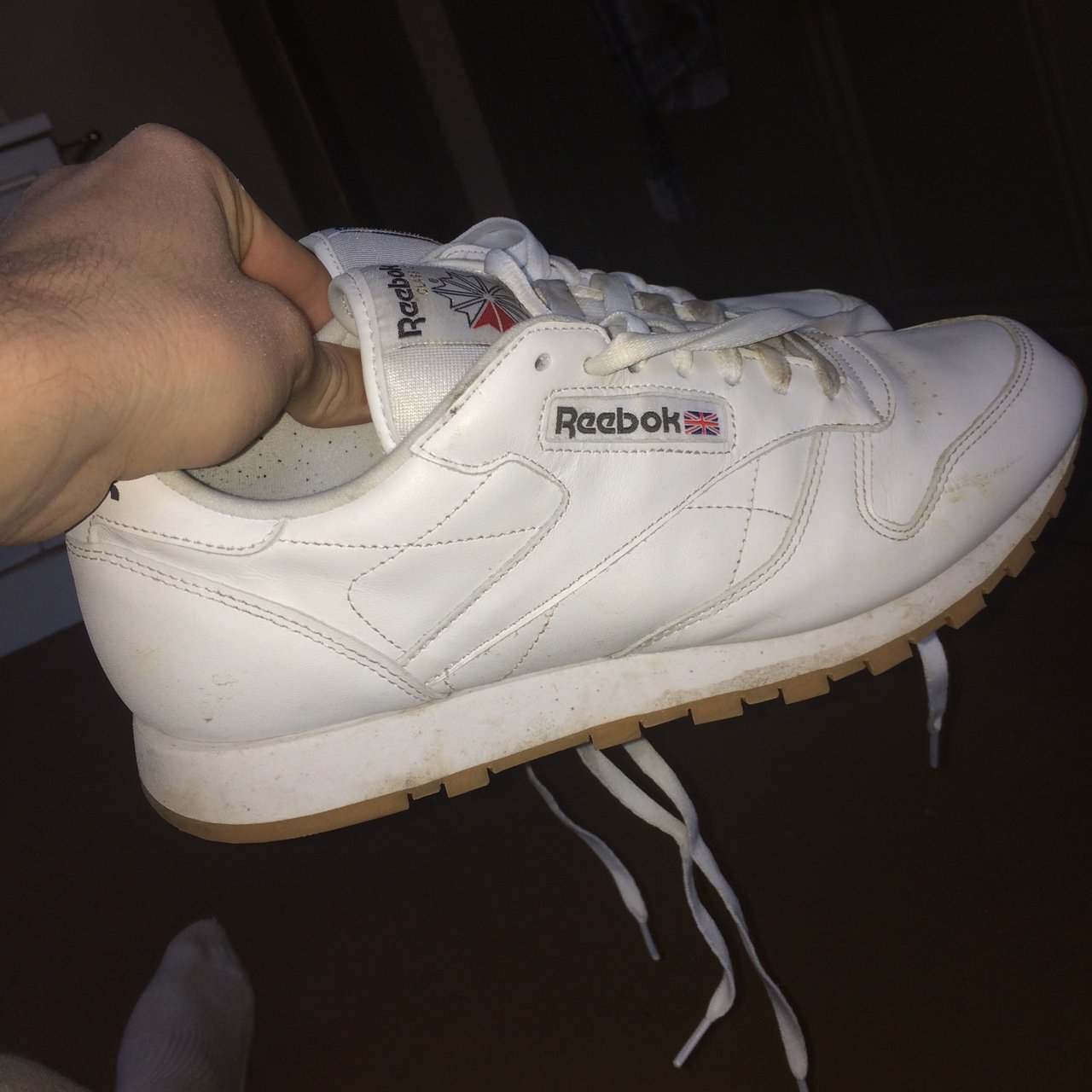 636ce87210a4 reebok classics barely worn laces are a bit dirty so is sole - Depop