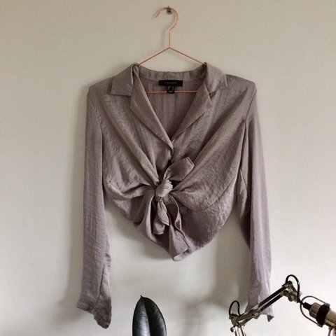 9cf61bc6d9698c Grey/ silver silk shirt Size 8 but oversized Really nice - Depop