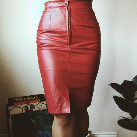 efbe05cab8 @arcid. 2 years ago. Fort Worth, United States. Red LEATHER skirt. High  waisted.
