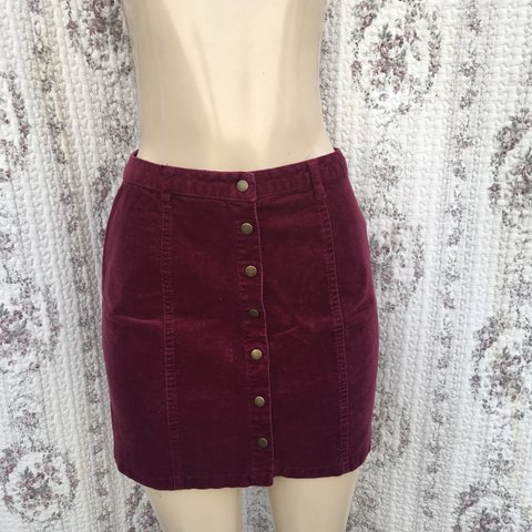 f84b05d1c6 Maroon Corduroy Button Down Skirt. Bought from Forever 21