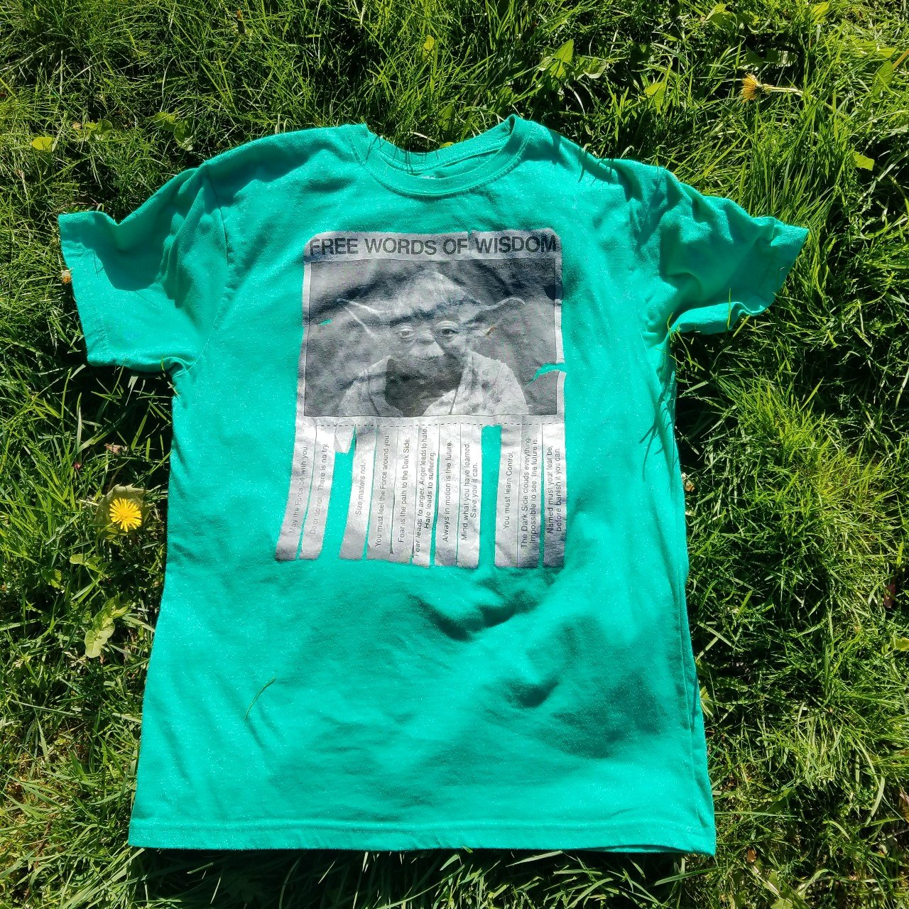 e527a5f65 @travelingsagittarius. 9 days ago. Tigard, Oregon, US. Funky Star Wars Yoda  green graphic tee, gently worn once, size Large ...