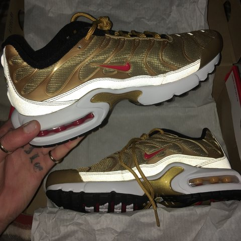 87af318491 @pascaleeliza. 8 months ago. London, United Kingdom. The sickest pair of Nike  Air Max Plus TN SE gold bullets.