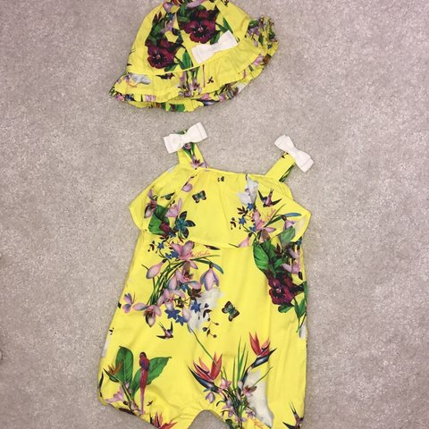 1e707a36535 Baby girls Ted Baker romper with matching hat size 3 6 worn - Depop