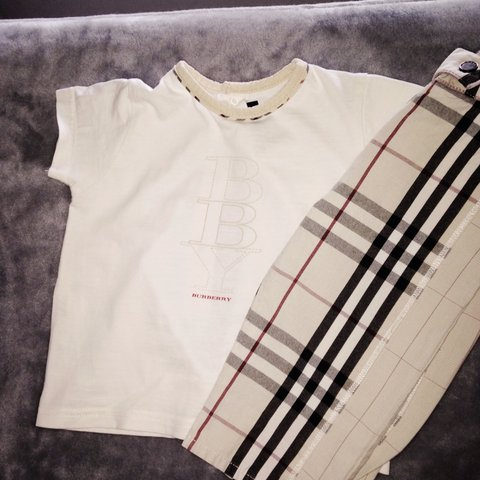 40caf2504 Baby Burberry outfit 100% real!! Size Trousers 6 months, top - Depop