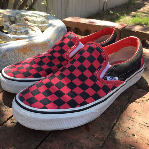 2d1761aca9 Vintage red and black checkered classic slip on vans. Good 7 - Depop