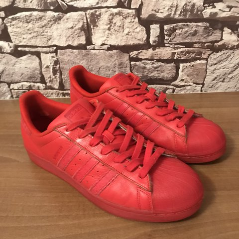 034529175306 Adidas Superstars All Red Reflective UK11.5 Excellent Only - Depop