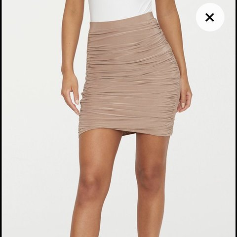 02adb677c Pretty little thing taupe/Nude mini skirt. Slinky ruched 6 - Depop