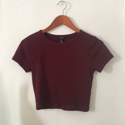 25c11998b7e Red Ribbed Crop Top Dark red/wine crop from Forever... - Depop