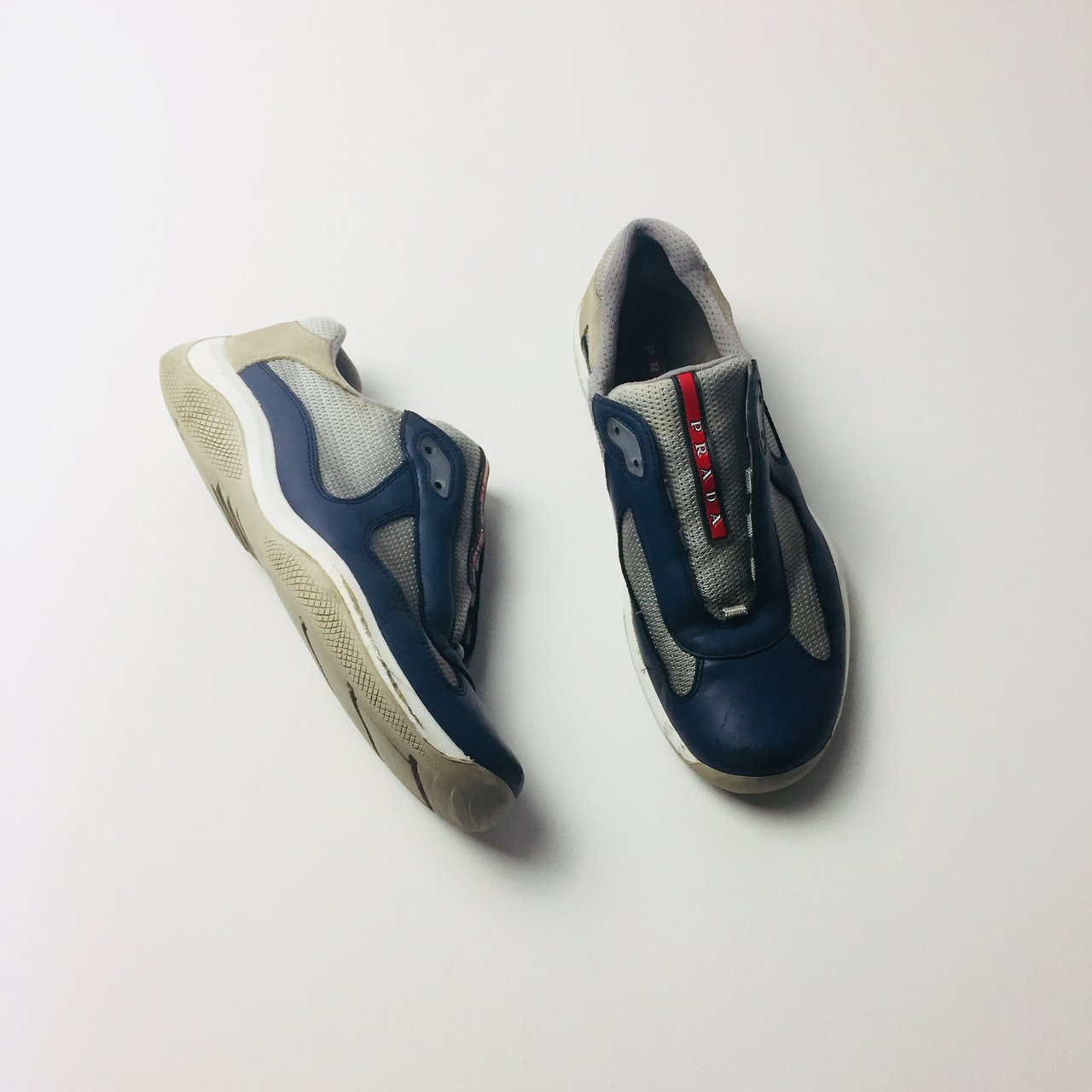 Prada American Cup trainers. Navy blue and grey. 100% Worn 6 - Depop a4e353399