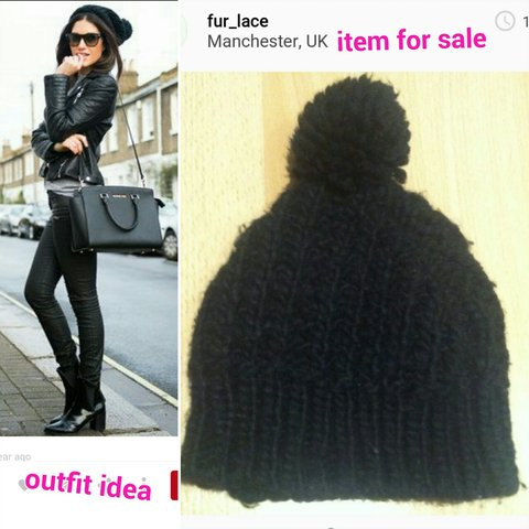1ce06f6df5e Zara Black knitted bobble hat. Perfect for on trend style 😄 - Depop