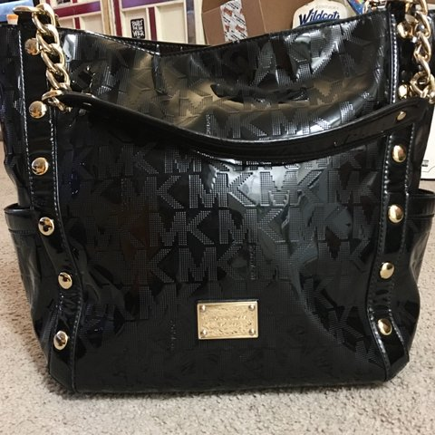 3b26c9243a9561 @zfrias. 4 months ago. Bellevue, United States. MICHAEL KORS Selling this  beautiful large black studded monogrammed MK bag ...