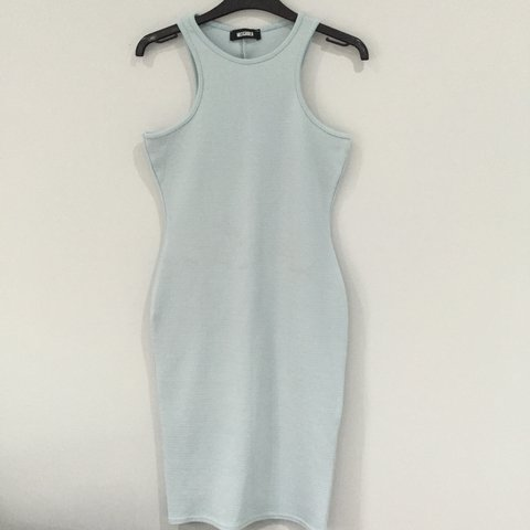 496c47e02f605 MISSGUIDED PALE BLUE TIGHT DRESS SIZE 10 SLIT AT THE BACK UP - Depop