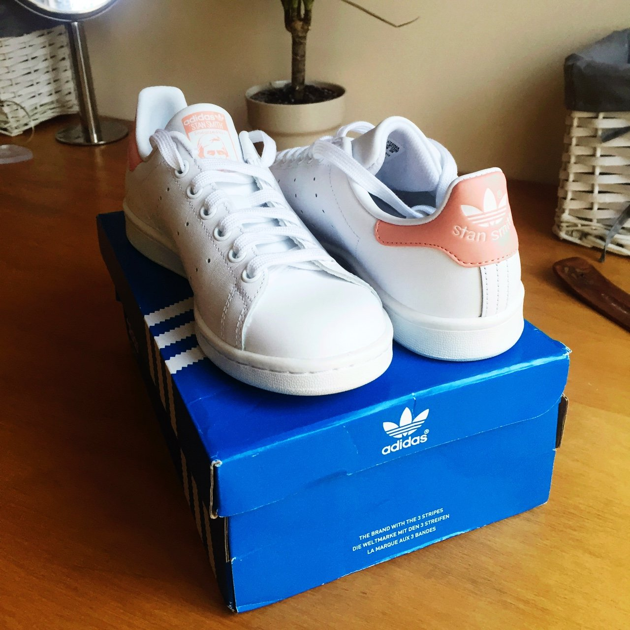 Brand new Peach Stan smith adidas trainers in size 5. Sold - Depop cb03073ce14c