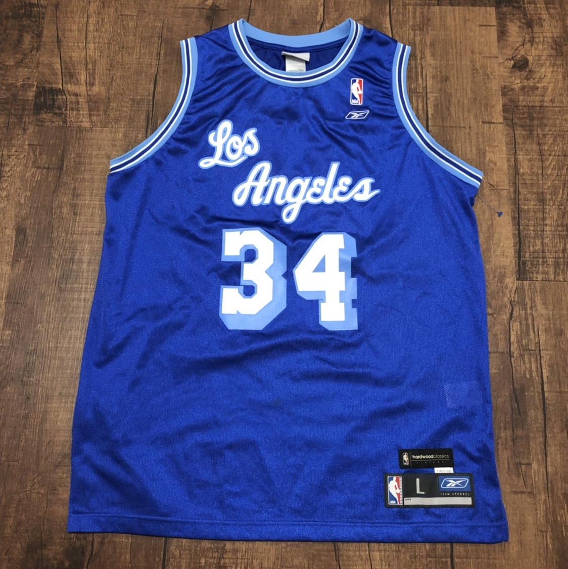 new style ca569 60902 Throwback Reebok Los Angeles Lakers Blue Shaquille ...
