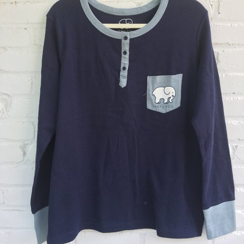 734d4368100f Ivory Ella Long Sleeve Navy Thermal Henley made of 100% New - Depop