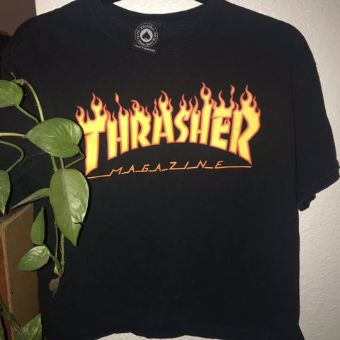 3b1fda195048 BLACK THRASHER SHIRT 🛹 -in great quality -cropped !!! -i - Depop
