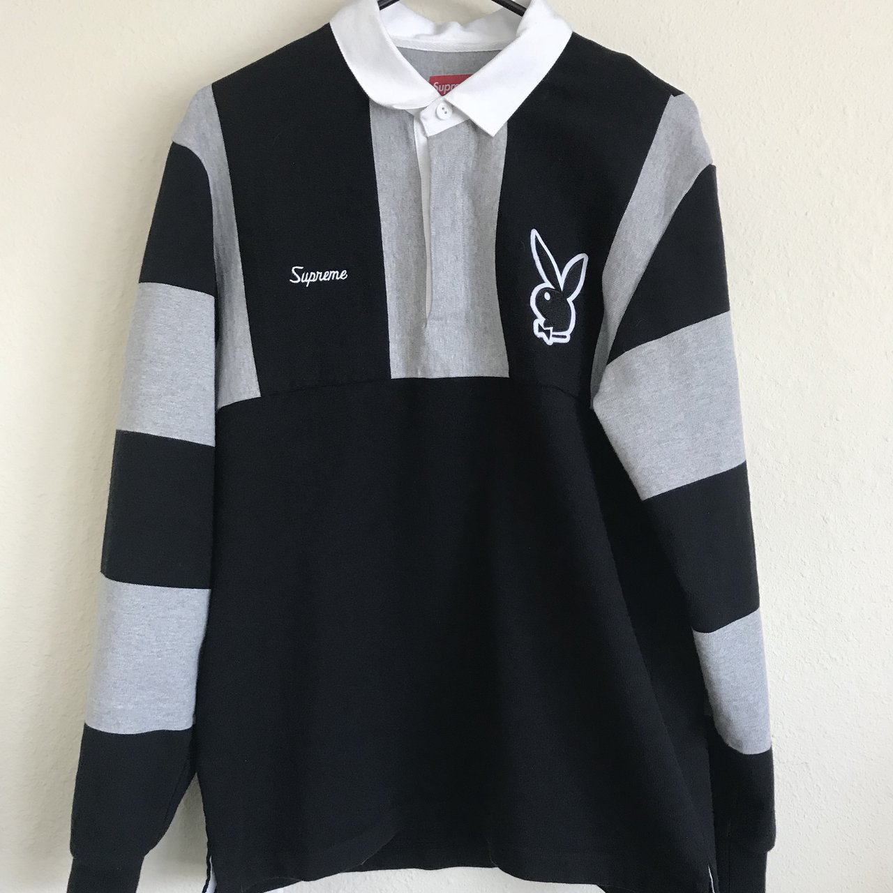 0fc78f1e0b0 @unwanteddeath. last year. Katy, United States. Supreme x Playboy Rugby  Perfect condition. Size medium