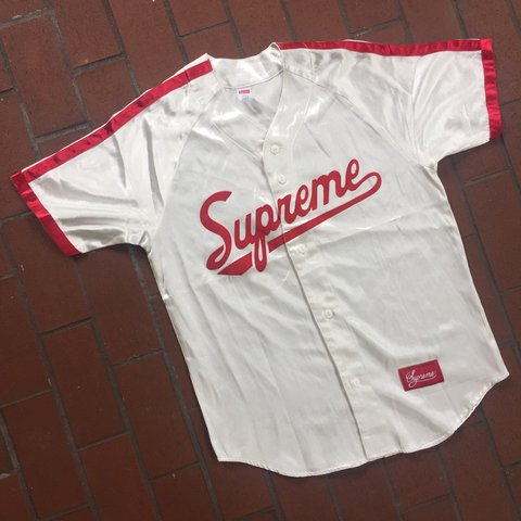 SS17 Drop White Red Supreme Baseball Jersey Condition  for - Depop 6b2c4ef7b
