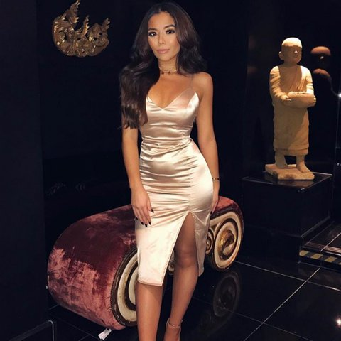 cb7944ab695 Selling my OH POLLY nude satin dress. Perfect condition only - Depop