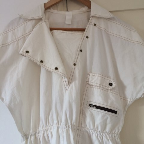e27d4fc778 Vintage Retro White cream Dress with pockets and zips