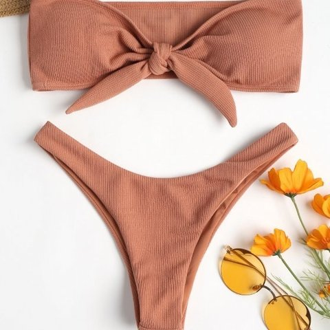 fb414a59b89 Orange/rust ribbed bandeau bikini with tie at front in Size - Depop