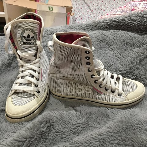 105ab50fdf90 Adidas white High Top trainers. Can be worn folded down with - Depop