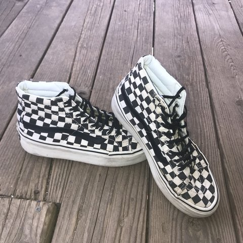 08fbac1fc4 Black and white checkered Vans with a platform of about 1 in - Depop