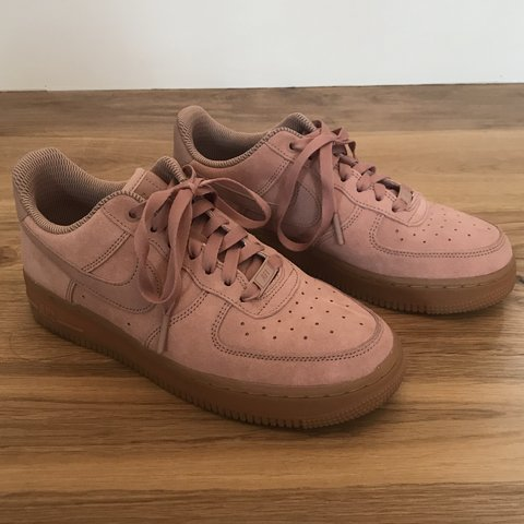 780624c9c28800 Nike Air Force 1  07 Trainers In Particle Pink Suede With   - Depop
