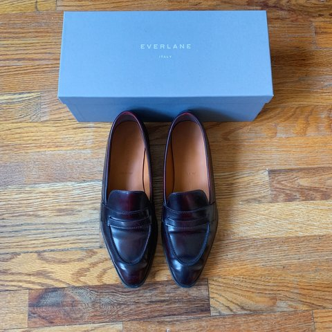 "5b56a152ca0 Everlane ""The Modern Penny Loafer"" in Oxblood. Crafted from - Depop"