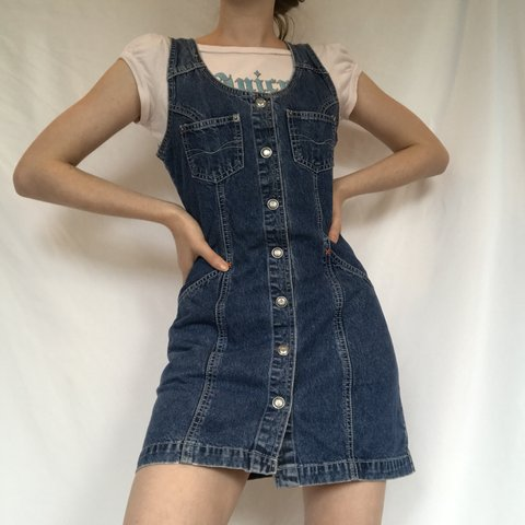 18bdf0994df 90 s vintage jean pinafore overalls dress by Pepe Jeans snap - Depop