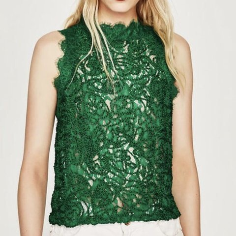 211bbec099064 Zara green Cornelli lace sleeveless crop top with zip back a - Depop