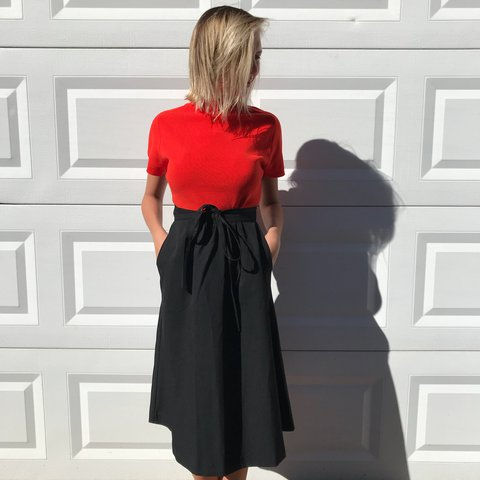 9fb0df0d68 Beautiful, timeless, essential vintage black wrap skirt with - Depop