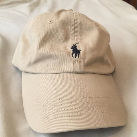 b42b78c925f Tan and navy polo Ralph Lauren dad hat. Close to new 9 10 - Depop