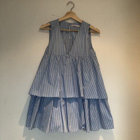 8b8632ffff7 ZARA blue and white pin striped flared play suit dress. Has - Depop