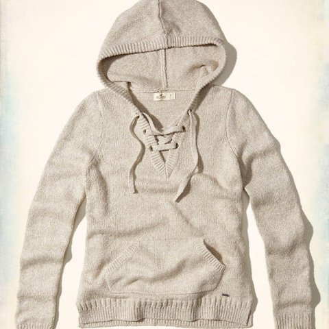 Hollister Lace Up Hooded Sweater size L no holes or tears - Depop 042028ef8