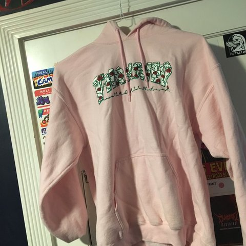 02efd097f924 pink rosethorn thrasher hoodie. rarely worn and great open - Depop