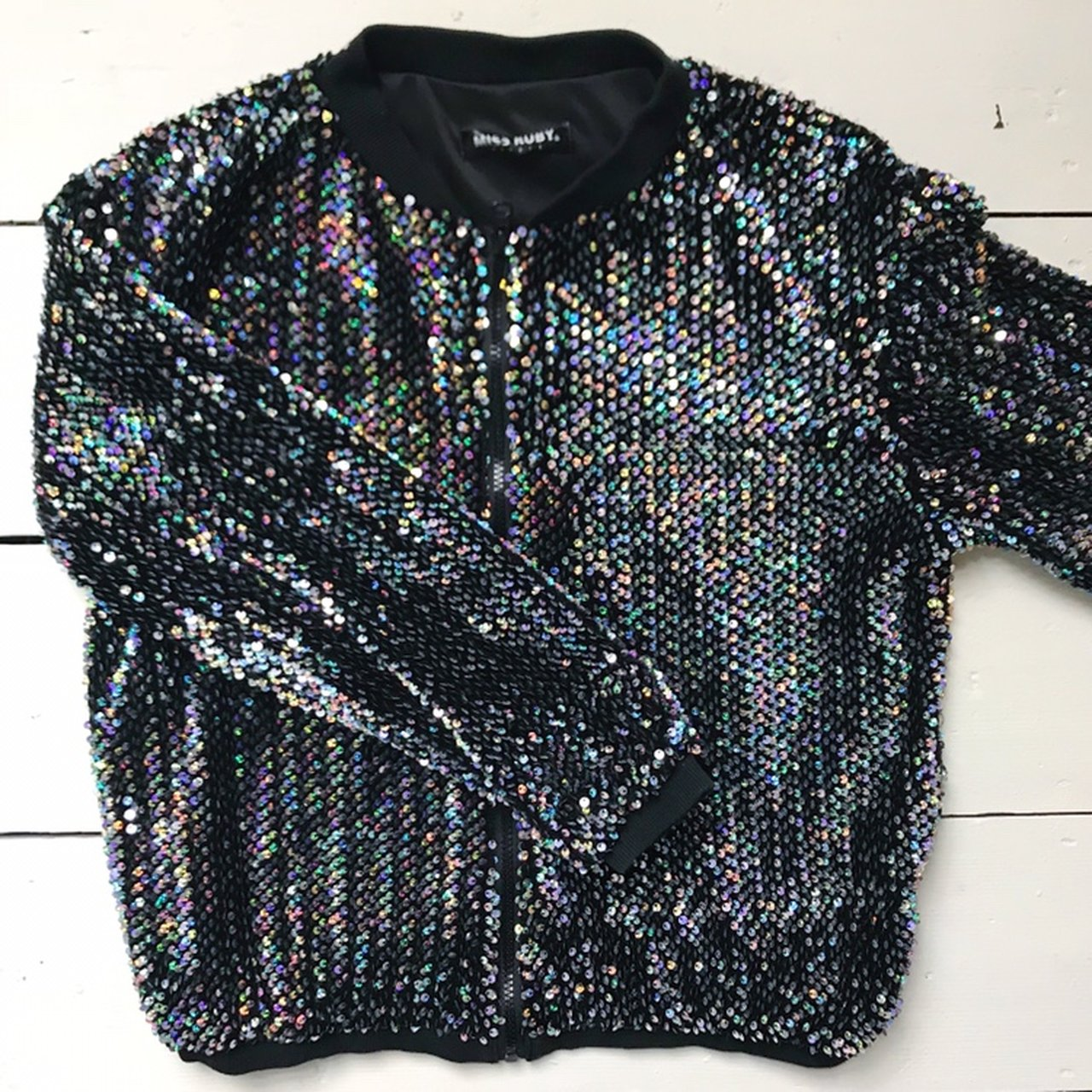 0b34b656 Silver holographic sequin bomber jacket