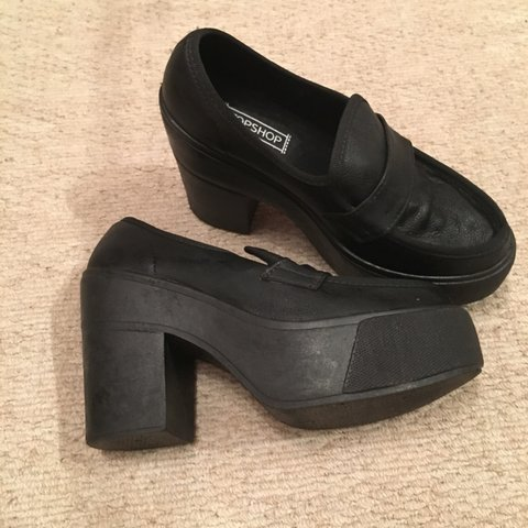5e2d429695d TOPSHOP chunky black heeled loafers