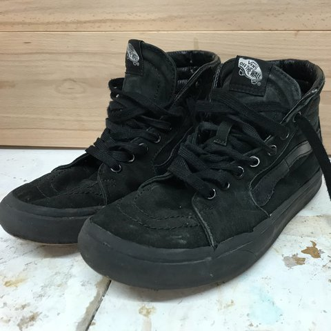 Old skool VANS all black high top. These are old and rusty - Depop 0166a1583