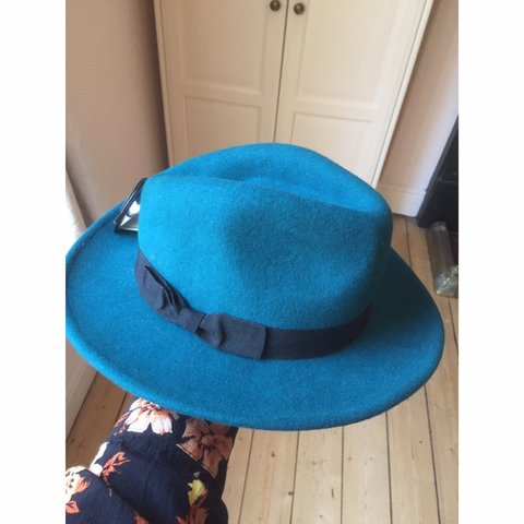 9d78213fc4bce ️REDUCTION‼ Deep turquoise fedora hat👒 🌟Features black - Depop
