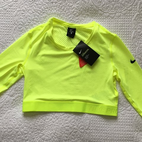 382a8575abc @sophiesquats. last year. Wallasey, United Kingdom. Nike Pro hypercool crop  top with 3/4 length sleeves. Neon yellow