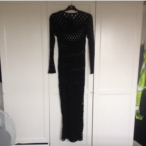 f99724203bbd Black mesh hole maxi dress for sale size 10 from h & m only - Depop
