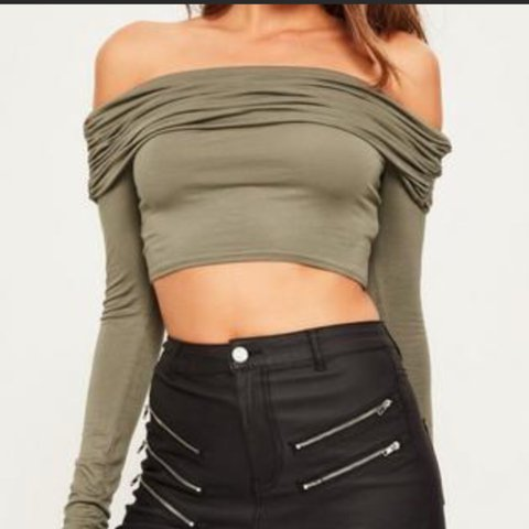 0ea208405dd564 @sarahjess92. 9 months ago. Harlingen, United States. Khaki green ruched  Bardot crop top from Missguided.