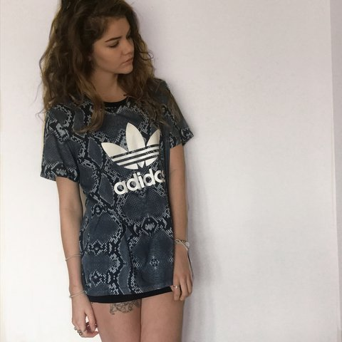 4669b3df83b @jessicamolly. last year. Bexhill, United Kingdom. Snake print adidas t- shirt.